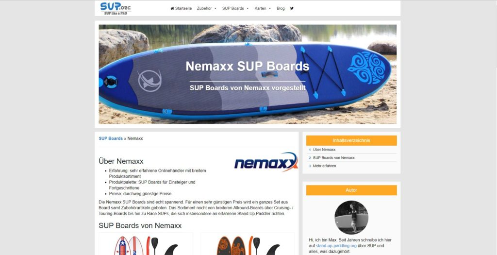 stand-up-paddling. org Nemaxx Sup board beitrag